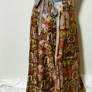 Reversible Indian Print Silky-Ray Maxi Wrap Skirt